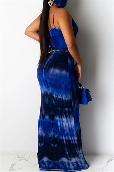Tie Dye Cami Maxi Dress With Belt