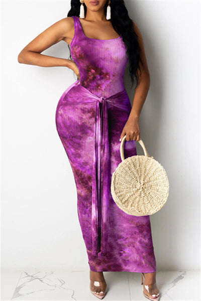 Tie Dye Printed Wrap Maxi Dress