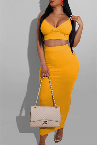 Solid Color Cami Top& Skirt Sets