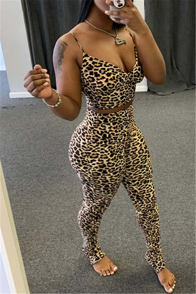 Leopard Printed Cami Bodycon Sets