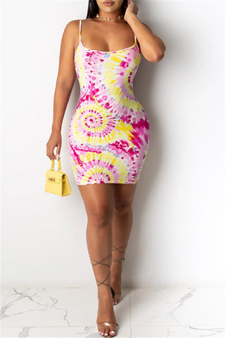 Colorful Circle Printed Mini Dress