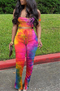 Tie Dye Tube& Ruched Pants Sets