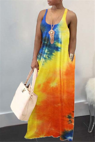 Casual Tie Dye Maxi Cami Dress