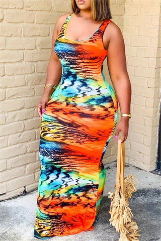 Casual Printed Cami Maxi Dress