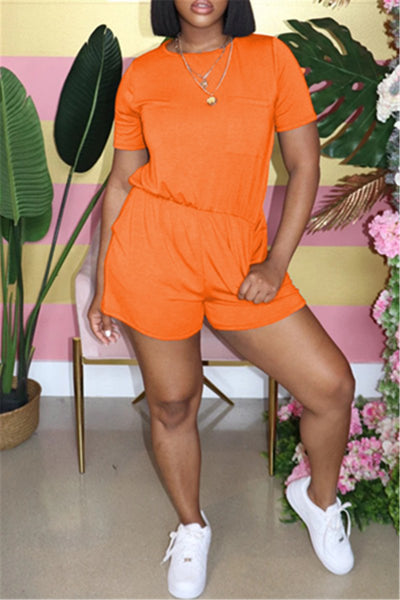 Solid Color Drawstring Romper With Pockets