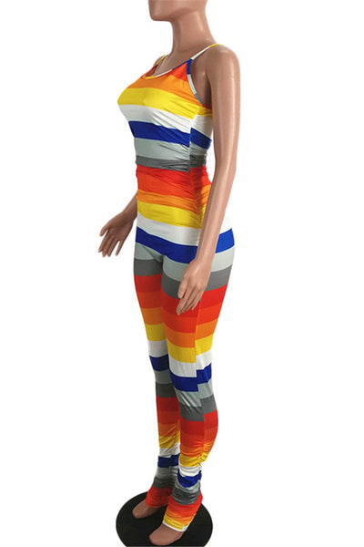 Rainbow Stripe Ruched Cami Jumpsuit