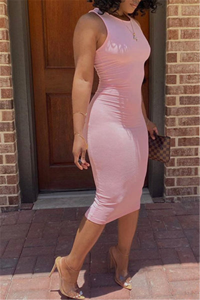 Solid Color Sleeveless Midi Dress