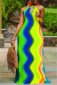 Rainbow Stripe Halted Maxi Dress
