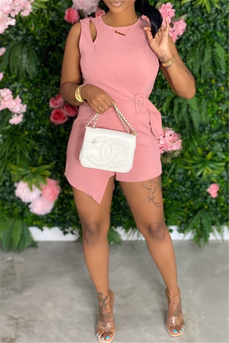 Solid Color Hollow Out Buckle Romper