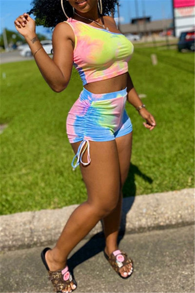 Tie Dye Tank& Ruched Shorts Sets