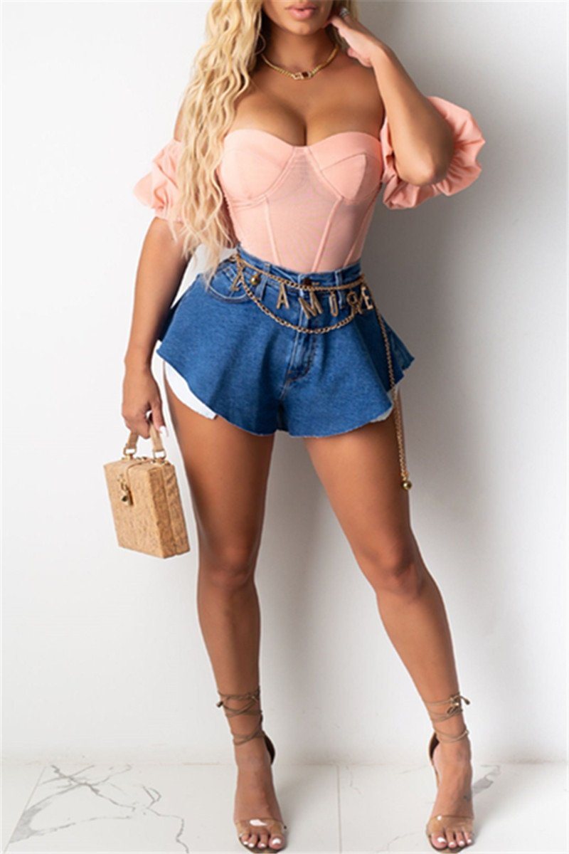 Casual Denim Shorts With Pockets