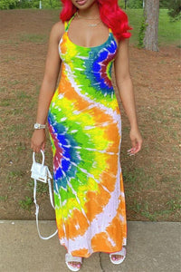 Tie Dye Printed Maxi Cami Dress
