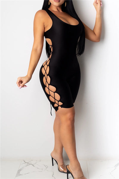 Solid Color Bandage Bodycon Romper