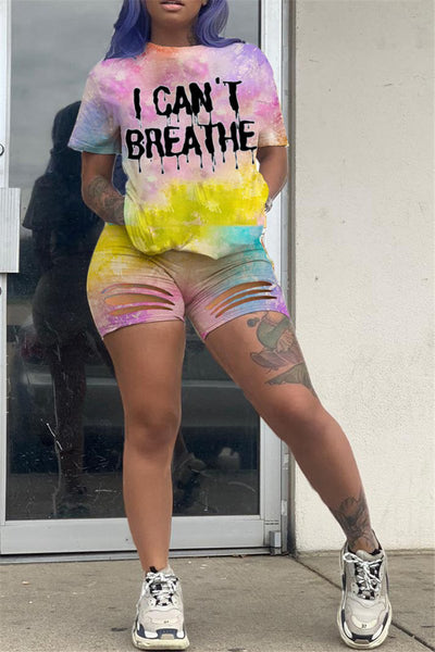 Tie Dye Top& Distressed Shorts Sets
