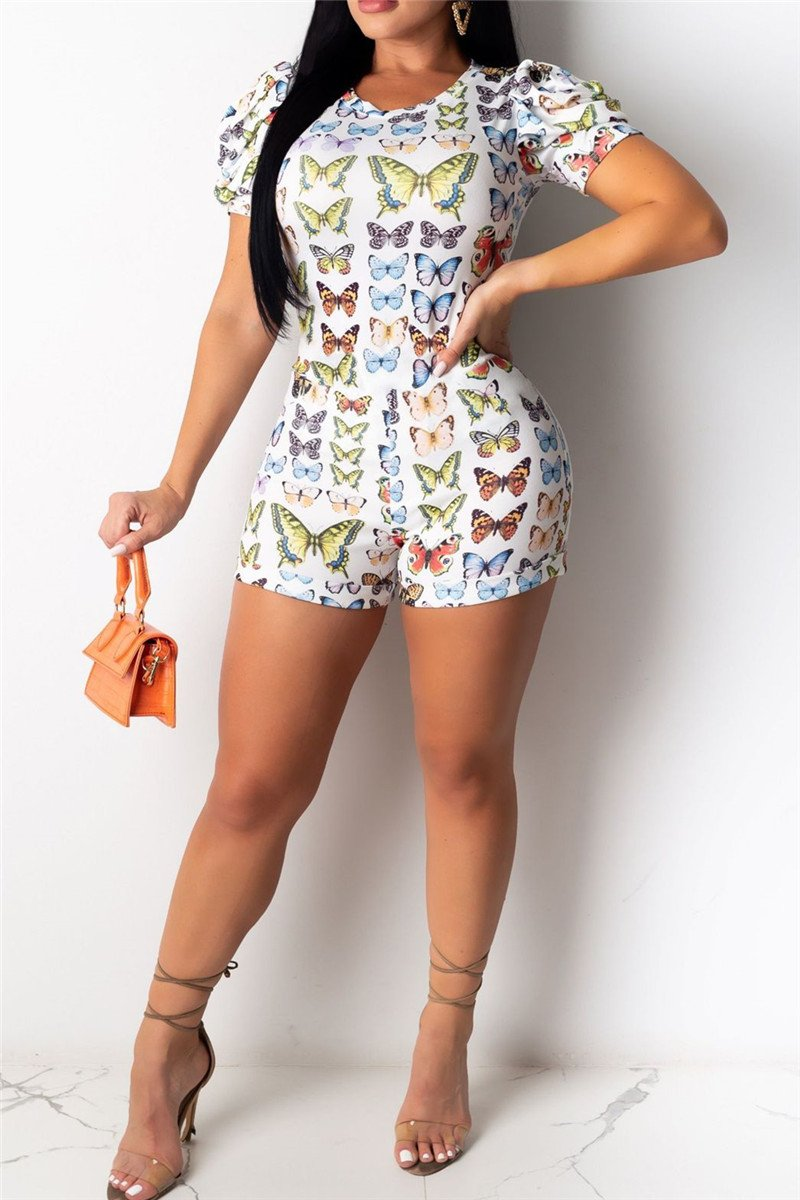 Puff Sleeve Butterfly Printed Romper
