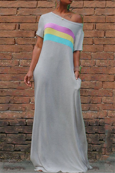 Off Shoulder Stripe Splicing Dress