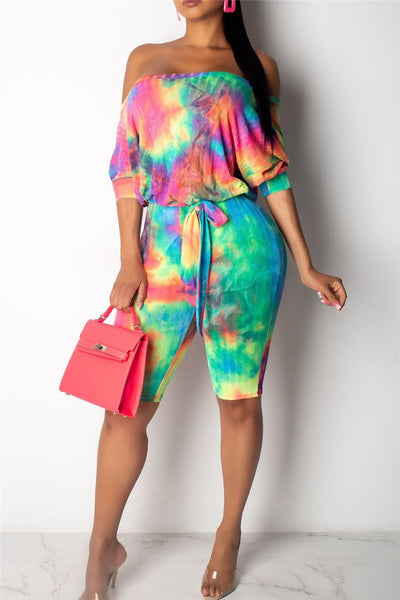 Tie Dye Bat Sleeve Wrap Romper