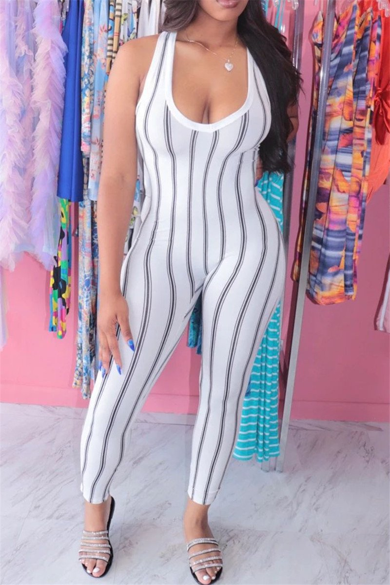Stripe Printed Bodycon Jumpsuit