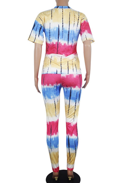 Casual Tie Dye V Neck Sets