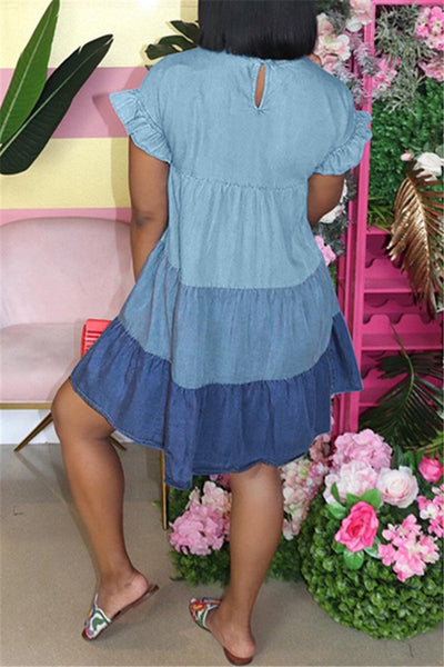 Color Splicing Ruched Ruffle Dress