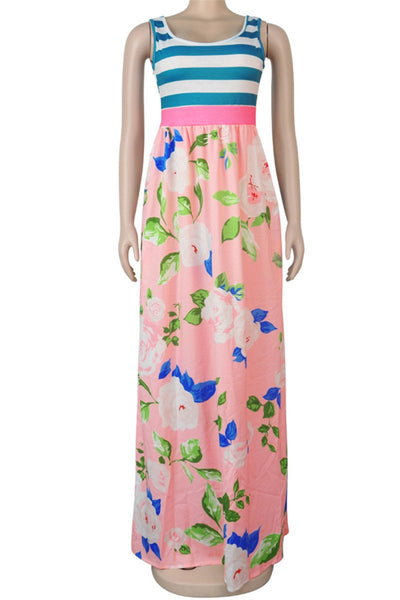 Flower Stripe Splicing Maxi Dress