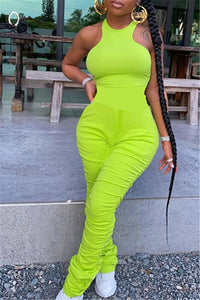 Solid Color Ruched Bodycon Jumpsuit