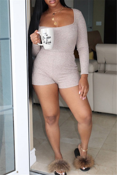 Solid Color Long Sleeve Romper