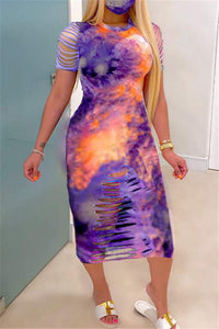 Tie Dye Distressed Bodycon Dress