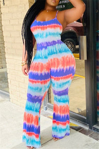 Tie Dye Hollow Out Back Jumpsuit