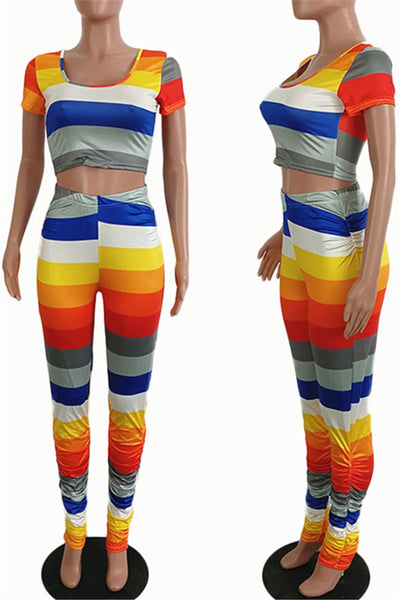 Rainbow Striped Ruched Two PC Sets
