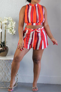 Stripe Back Bandage Two PC Sets