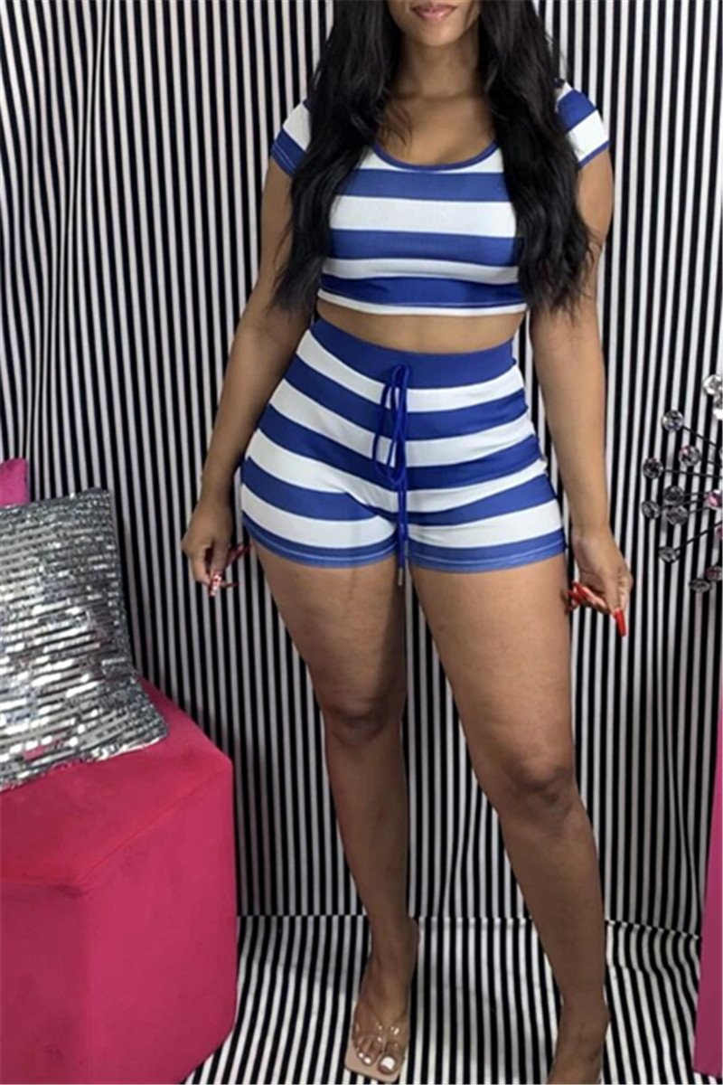 Stripe Hooded Top& Shorts Sets