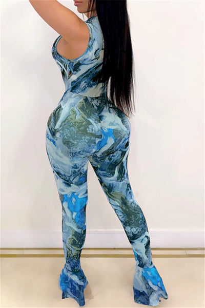 Printed Zipper Flare Jumpsuit