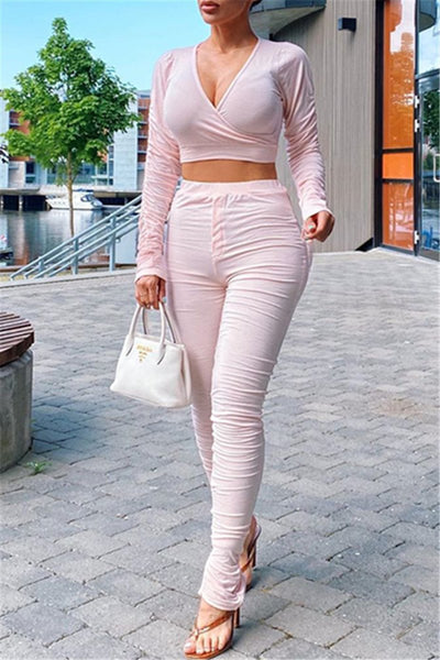 Solid Color Long Sleeve Ruched Sets
