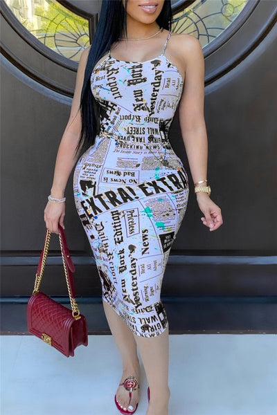 Letter Printed Bandage Bodycon Dress