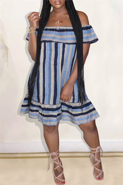 Off Shoulder Stripe Flounce Dress