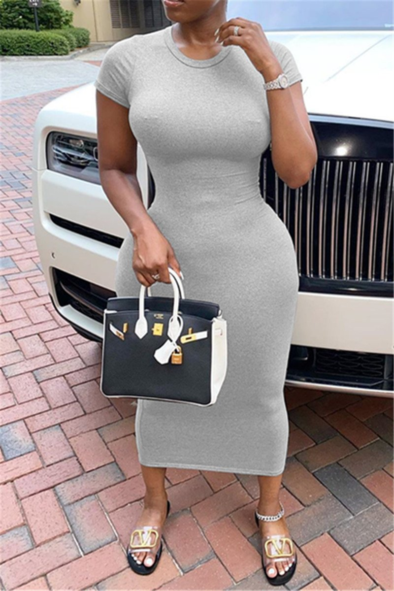 Solid Color Round Collar Dress