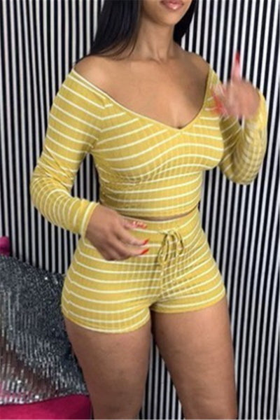 Off Shoulder Stripe Sets