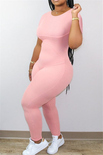 Solid Color Round Collar Jumpsuit