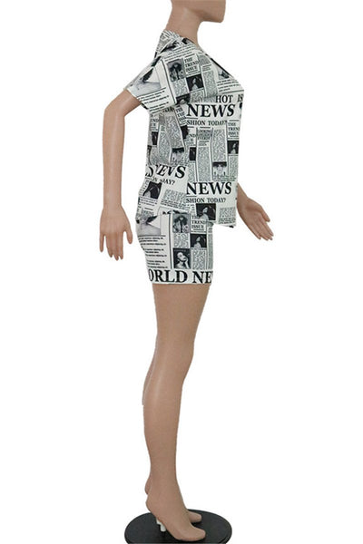 Casual Newspaper Printed Sets