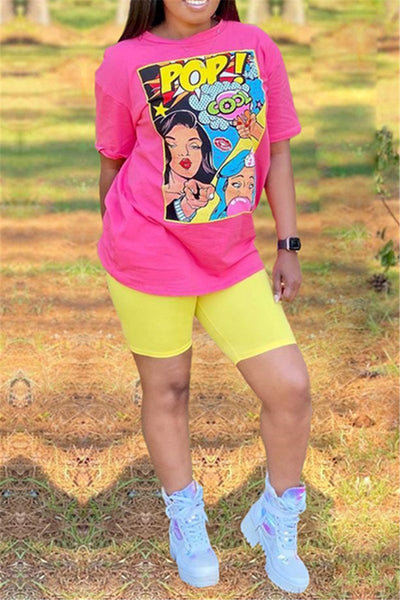 Cartoon Printed Top& Shorts Sets