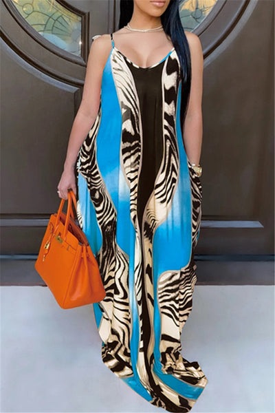 Casual Printed Dress With Pockets