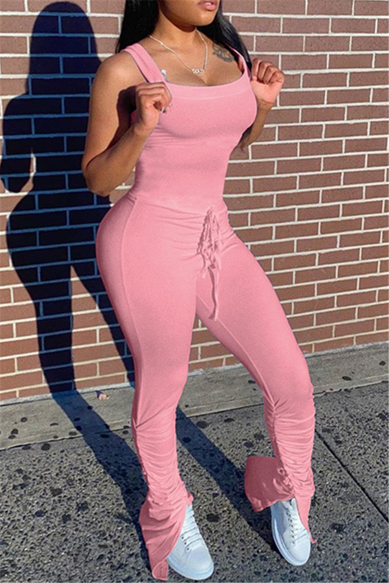 Solid Color Ruched Split Cami Jumpsuit