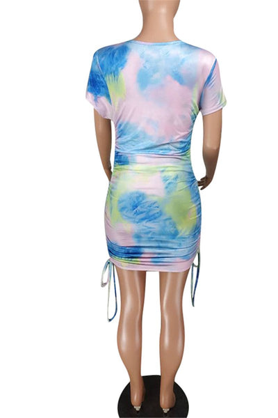 Tie Dye Drawstring Ruched Dress