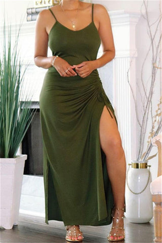 Solid Color Split Ruched Maxi Dress