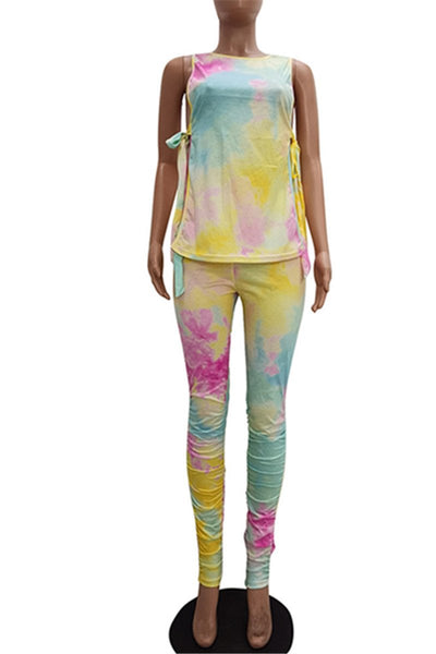 Tie Dye Wrap Ruched Sets