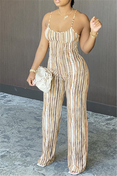 Stripe Printed Cami Jumpsuit
