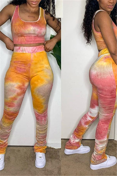 Tie Dye Sleeveless Ruched Sets