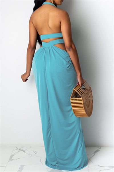 Hollow Out Halted Split Maxi Dress