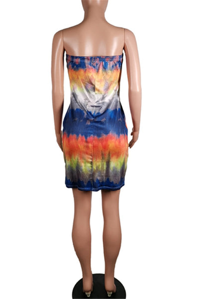 Casual Tie Dye Tube Dress
